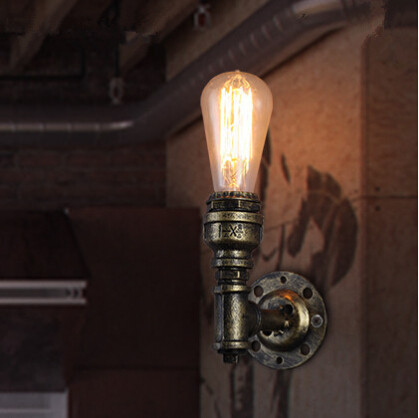 Simple Loft Style Edison Vintage Industrial Wall Light Iron Water Pipe Wall Lamp Fixtures Home Lightings Bar Lamparas De Pared simple iron water pipe vintage industrial edison wall lamp loft style wall light fixtures for bar aisle lamparas de pared