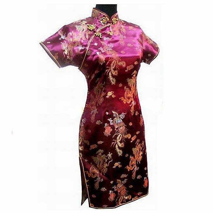 Lacivert Vintage Çin kadın Saten Mini Cheongsam Qipao Elbise Artı Boyutu S M L XL XXL XXXL 4XL 5XL 6XL Mujeres Vestido J4065