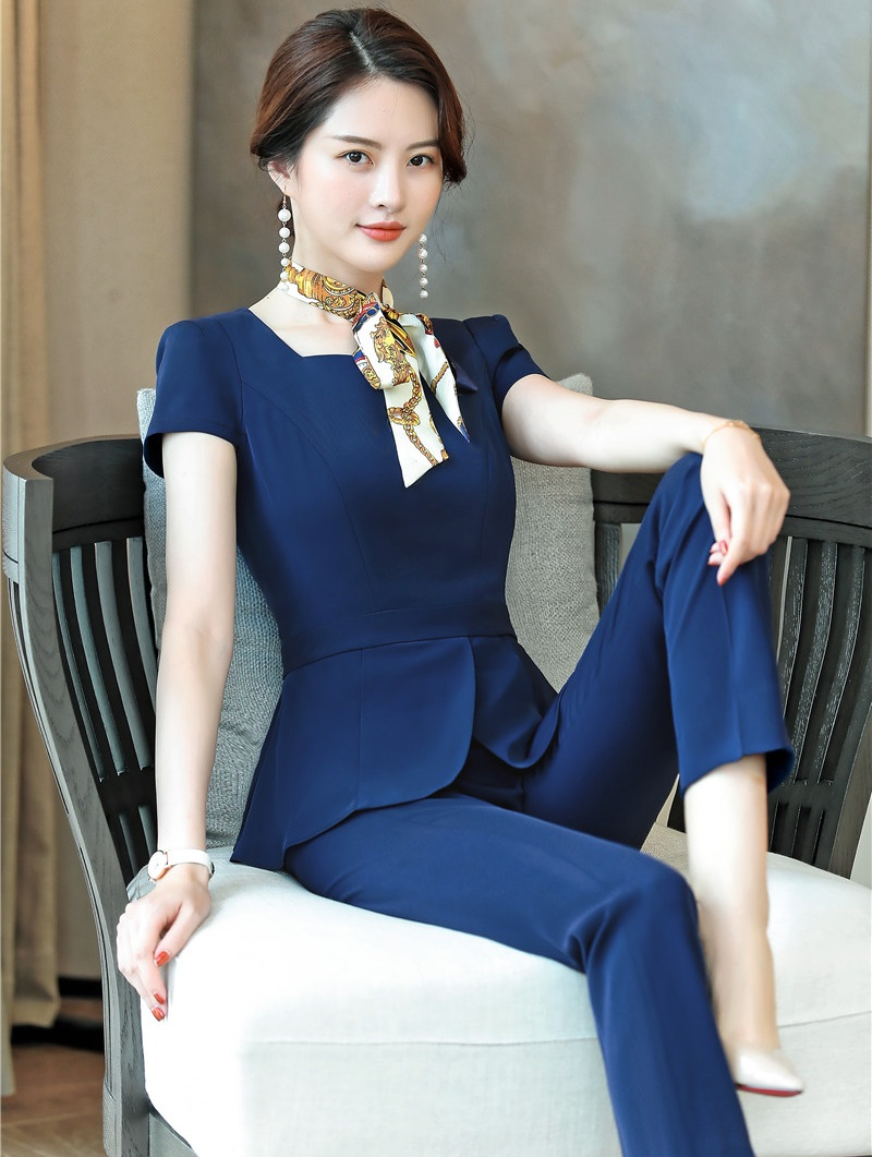Formal 2 Piece Sets Female Pantsuits With Pants And Tops 2019 Summer Fashion Navy Blue Ladies Blazers Suits With Scarf