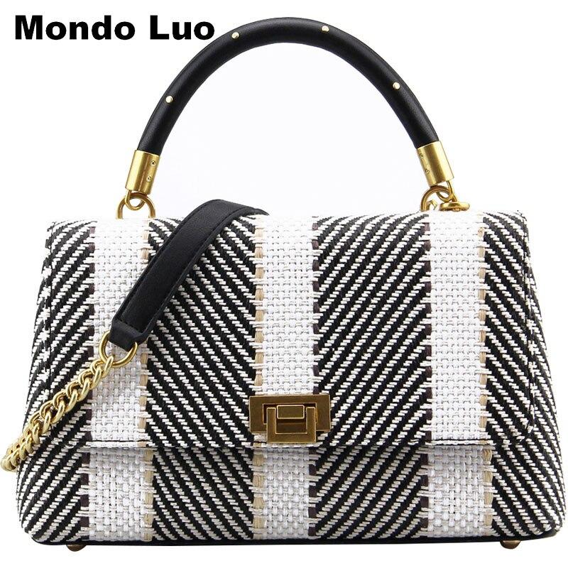 Woman 2018  Knit  Straw Chain New Handbag  Single Shoulder Oblique Satchel Bag