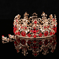 Baroque Style Gold Leaf Red Rhinestone Wedding Tiara Crown And Earring Set Alloy Bridal Queen Princess Crown Hair Accessories 36