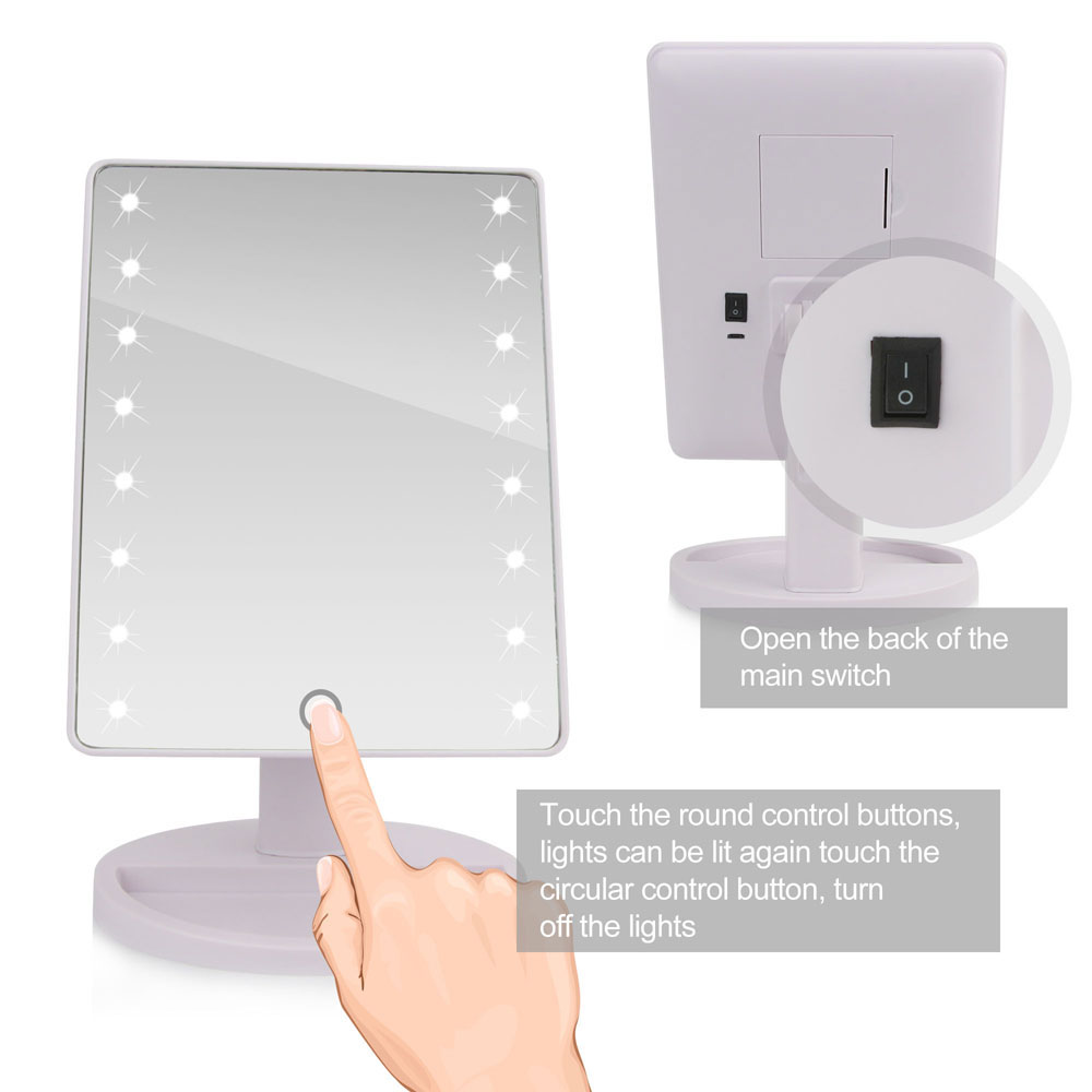 LED Touch Screen Makeup Mirror Professional Vanity Mirror With 16/22 LED Lights Health Beauty Adjustable Countertop 180 Rotating 2