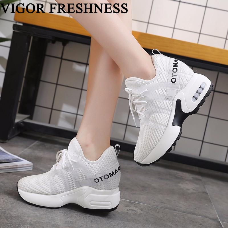 VIGOR FRESHNESS Shoes Summer Women Sneakers High Heels Platform Shoes White Sneakers Casual Woman Wedges Shoes Ladies WB16