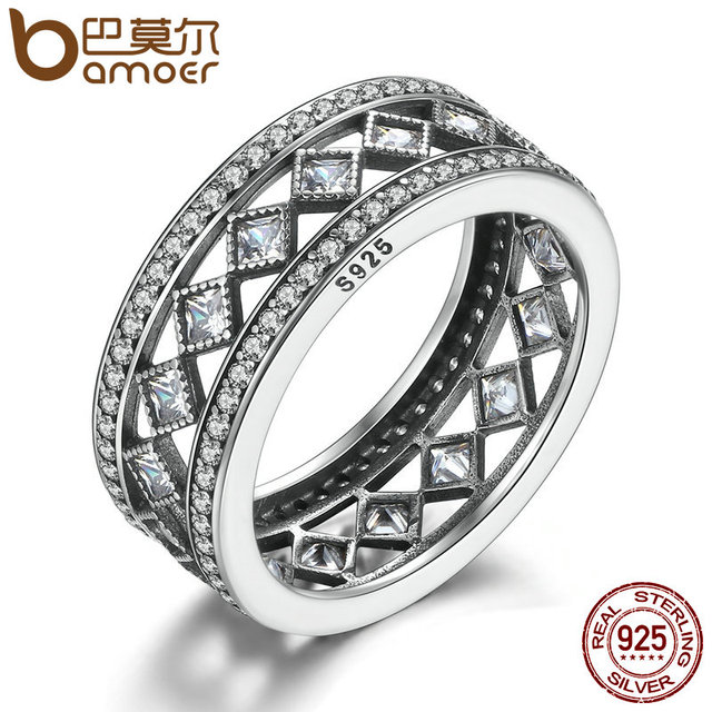 BAMOER Hotsale 925 Sterling Silver Square Vintage Fascination, Clear CZ Big Ring For Women Luxury Fashion Jewelry S925 PA7601