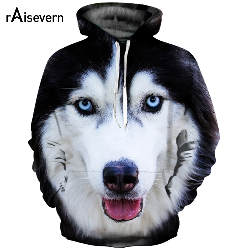 Raisevern Cute Husky 3D Dog Print Hoodies Unisex Sweatshirts Harajuku Tracksuits Streetwear Pullovers Tops S-3XL Dropship