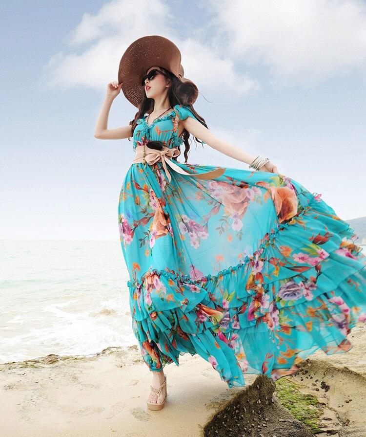 Voyage Rouge Floral D'impression Bleu Mousseline Qualité Longue Robe En Supérieure Soie Courroie Ruches 1 Spaghetti D'été De 2019 2 Bohême q1waxIEtx