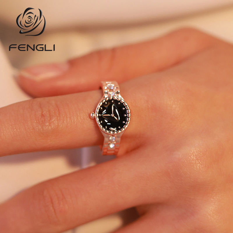 FENGLI Fashion Jewelry Watch Shape Rings for Women Finger Ring Female Engagement Wedding Rings Anel Accessories Gifts