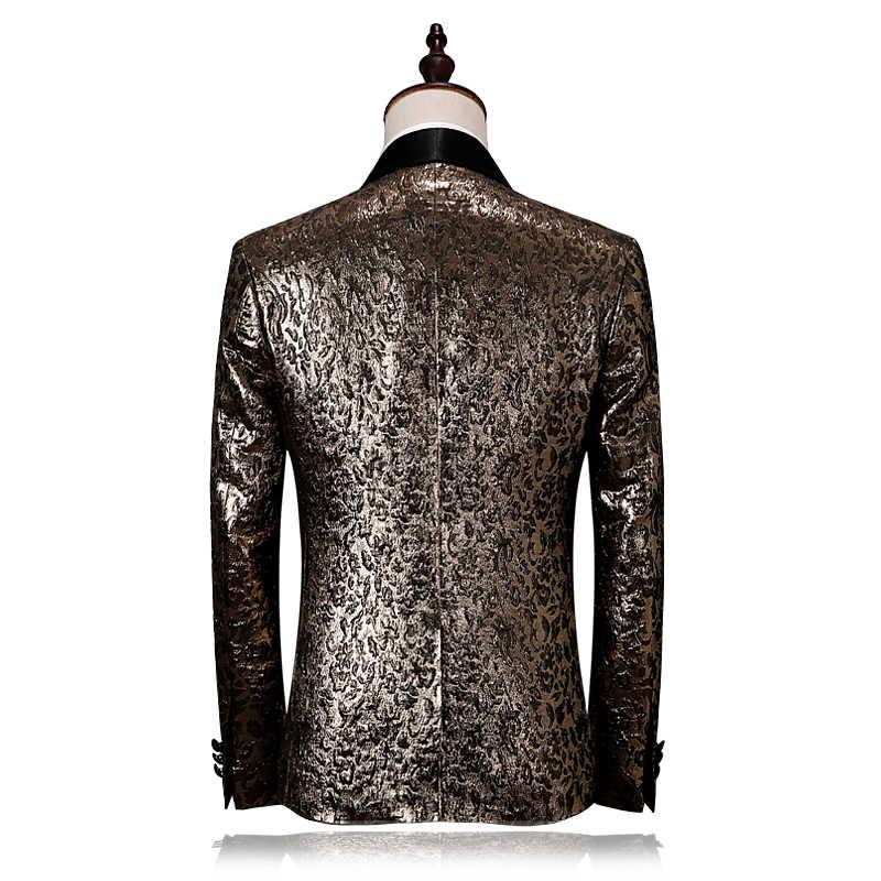 男性スーツ 2019 スリムフィットブラックゴールドタキシードジャケット高級ブランドステージ摩耗 4XL ファッションデザイナーのウェディングスーツ