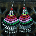 Ethnic Jewelry Cotton Fabric Art Earring Handmade Embroideried Miao Silver Bells Ear Ornaments Embroidery Dangler Eardrop Earing