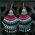 Jóias étnicas Tecido de Algodão Arte Brinco Handmade Embroideried Miao Prata Sinos Ornamentos Ouvido Bordado Dangler Eardrop Brinco