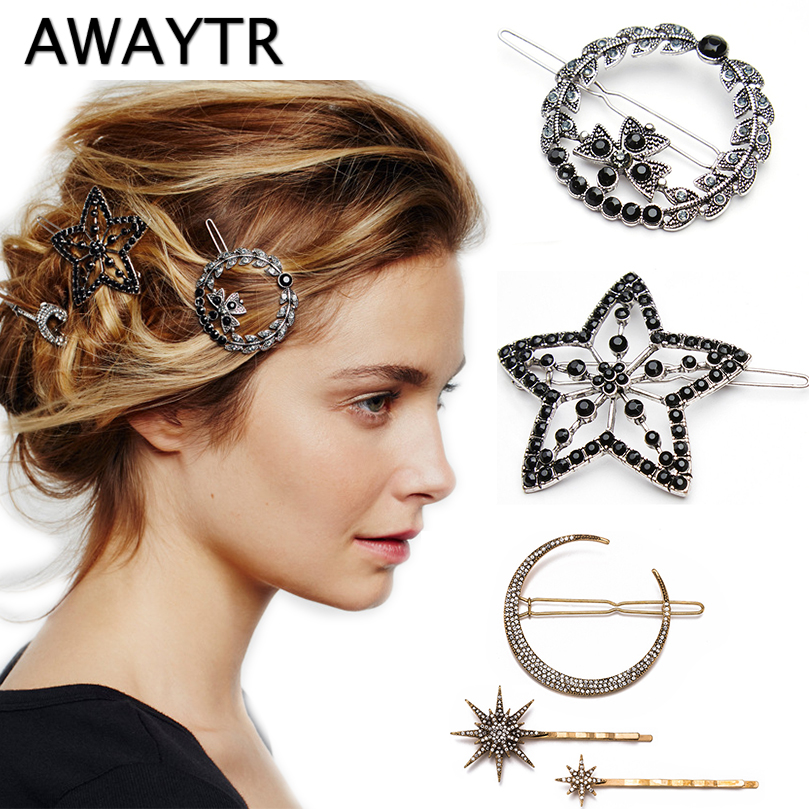 AWAYTR Retro Geometric Diamond Hairpin for Women Moon Snowflake Star Hairclips   Headwear   Female Hairgirps Girls Hair Accessories