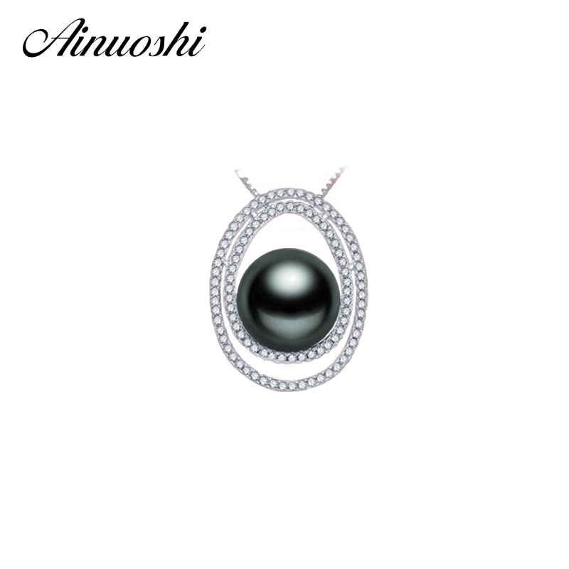 AINUOSHI 925 Sterling Silver Halo Pendant Natural South Sea Black Tahiti Pearl Centeral 11mm Round Pearl Necklace Pendant Gifts все цены