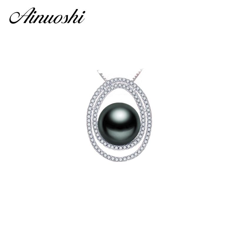 AINUOSHI 925 pendentif Halo en argent Sterling naturel mer du sud noir perle de Tahiti centre 11mm collier de perles rondes pendentif cadeaux