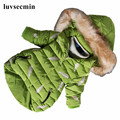 2016 Kids Baby Fur Hooded Feather Print Girls Winter Coat Long Child Winter Jacket For Girls Cotton-Padded Parkas Down JW0563