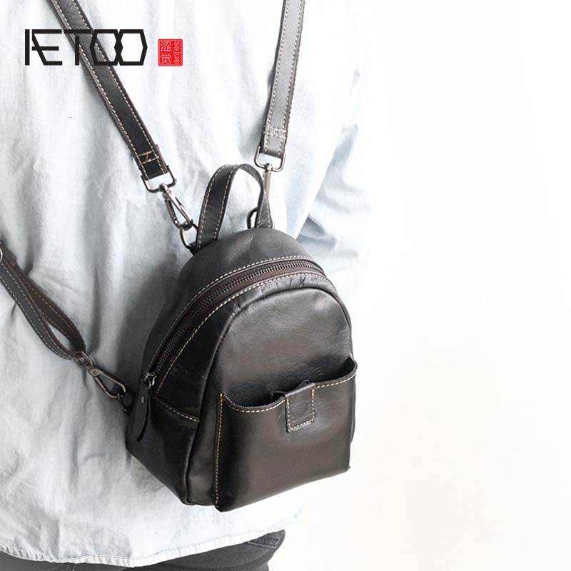 AETOO Women's new mini leather backpack new 2018 Korean female head layer leather mini backpack wild retro handmade bag women aetoo spring and summer new leather handmade handmade first layer of planted tanned leather retro bag backpack bag