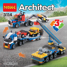 DECOOL 3114 City Creator 3 in 1 Vehicle Transporter Crane Building Blocks Kids Toys Compatible Legoings