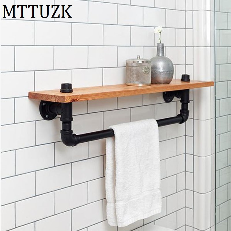 MTTUZK Black Iron Pipe Toilet Towel Holder Industrial Retro Style Wall Mounted Towel Bar With Wood