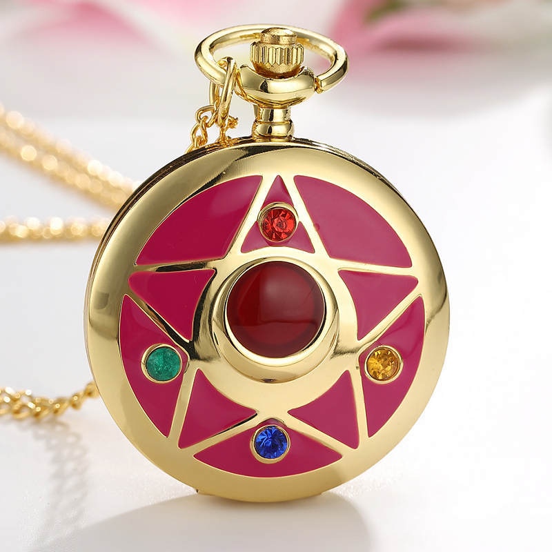 Lovely Quartz Pocket Watches Japan Anime Magic Girl Sakura Cartoon Star Cosplay Gold Pendant Necklace Fob Chain Women Lady Clock Spare No Cost At Any Cost Watches