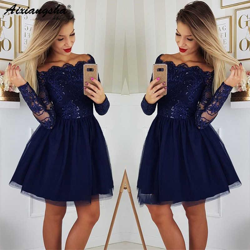 Elegante azul marinho curto vestido de baile 2019 junior mangas compridas fora do ombro rendas lantejoulas mini coacktail vestidos