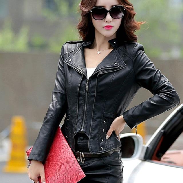 2016 spring and autumn leather jacket women PU motorcycle clothing short slim turn-down collar fashion leather coat female