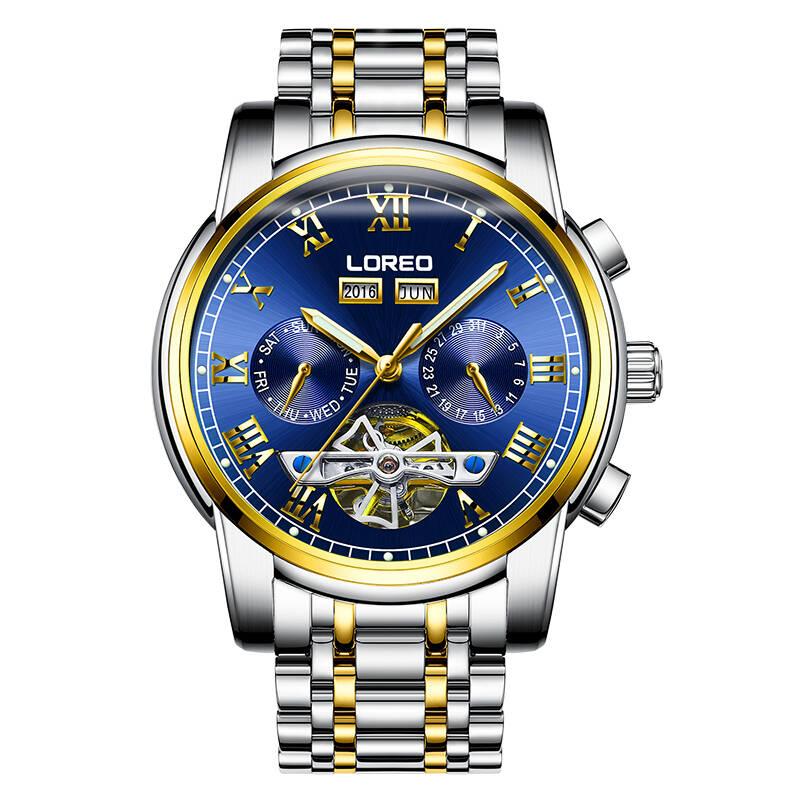 LOREO 6108 Germany watches men skeleton Tourbillon high quality Classic automatic self-wind moon Phase sapphire luminous