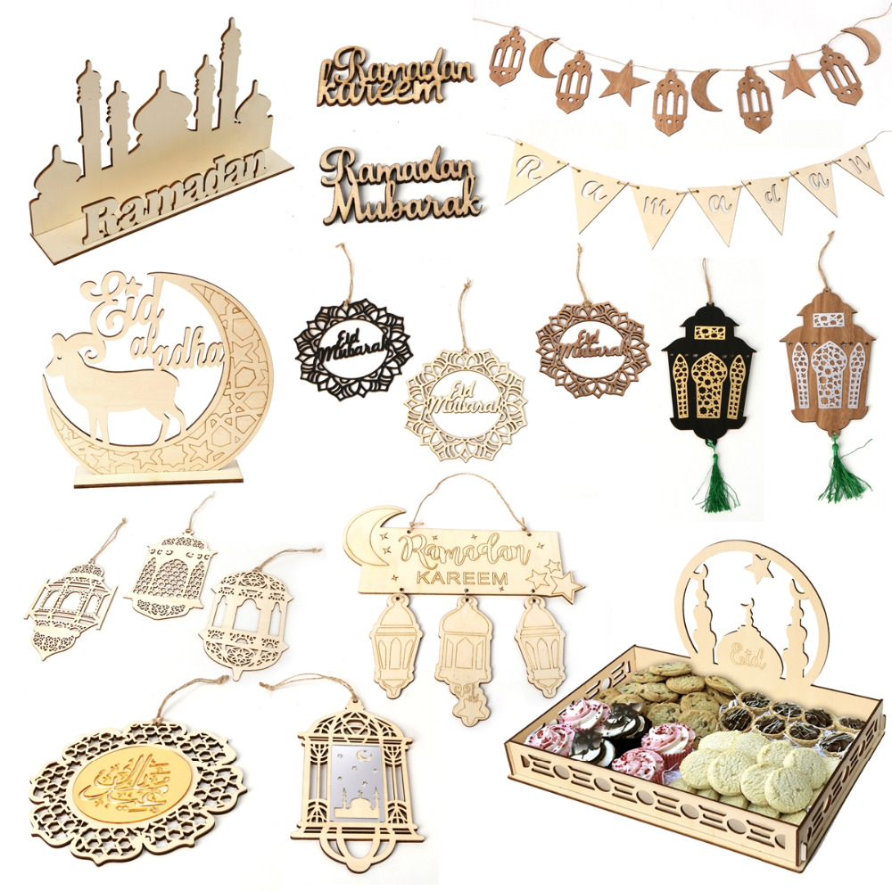QIFU DIY EID Wooden Pendant EID MUBARAK Decor Islamic Pendants Ramadan Decoration Islam Muslim Party Decor Ramadan Mubarak Gifts