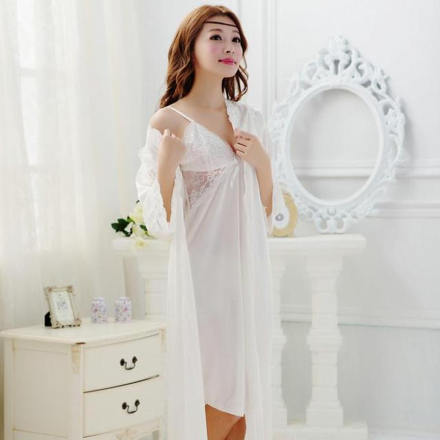 Sexy Lace Pajamas Female Summer Nightgown Lingerie Night Sleepwear Silk Robe Set