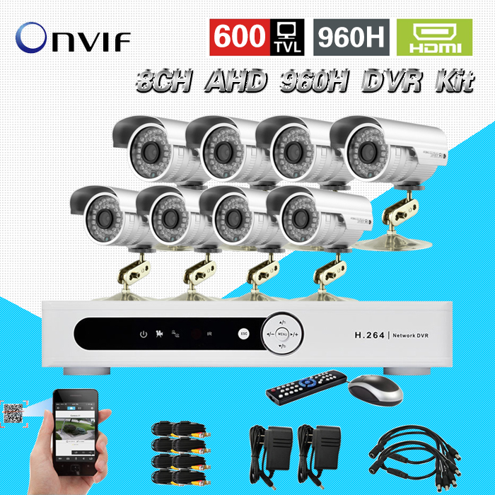 TEATE 8 Channel AHD 960H DVR 600TVL waterproof video Camera System 8CH CCTV surveillance System H.264 network DVR NVR KIT CK-195 teate ahd 8 channel 720p 1080n h 264 video recorder 3 usb port hdmi network dvr 8ch cctv system for security camera surveillance
