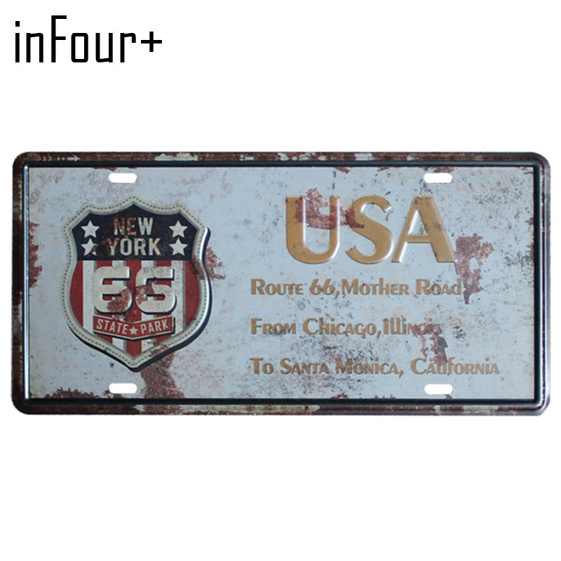 [inFour+] New USA Country Plate Metal Plate Car Number Tin Sign Bar Pub Cafe Home Decor Metal Sign Garage Painting Plaques Signs