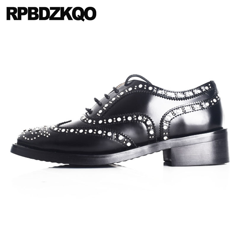 Japanese Crystal Flats Vintage Women Oxfords Shoes Genuine Leather Celebrity Brogue Stud White Rhinestone Black Diamond Rivet women white brogue stud shoes british style metal flats rivet fashion oxfords black designer spring autumn punk rock belts zip