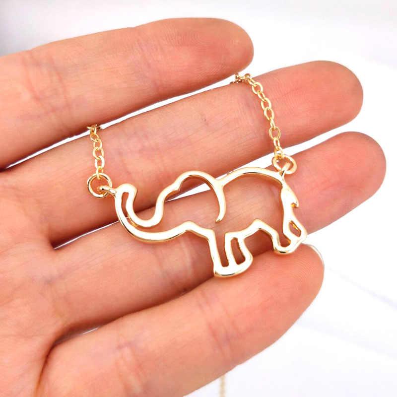 Hzew Collier Femme złoty łańcuch Origami słoń wisiorek naszyjniki dla kobieca biżuteria Largos De Moda Kolye