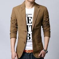 Men blazer spring 2018 new autumn male leisure suit slim cotton plus size outerwear fashion Korean style black khaki 5XL 6XL