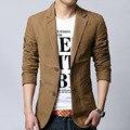 Homens blazer primavera 2017 outono masculino terno do lazer algodão fino plus size outerwear moda khaki preto 5XL 6XL