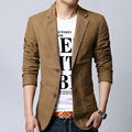 Men blazer spring 2017 autumn male leisure suit slim cotton plus size outerwear fashion black khaki 5XL 6XL