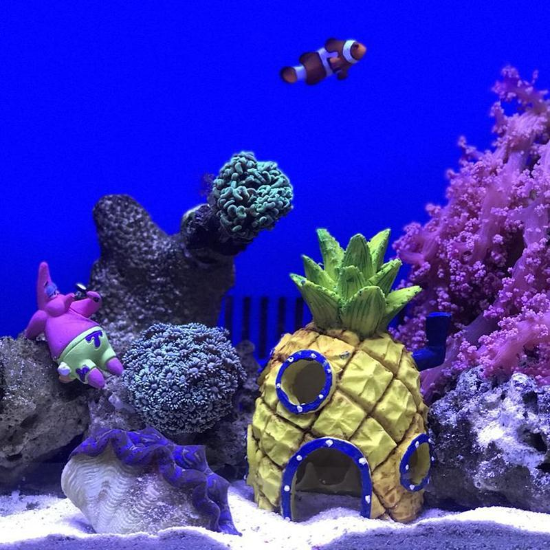Aquarium Ornament Safe For All Fish Decorations Special Spongebob Style Discounts Price Decorations Pet Supplies Us Ship