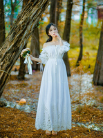 Bridesmaid Dress Vintage Princess Nightgowns Goddess Long Dress White Cotton Sleepwear For Women Pregnant women dress Plus size