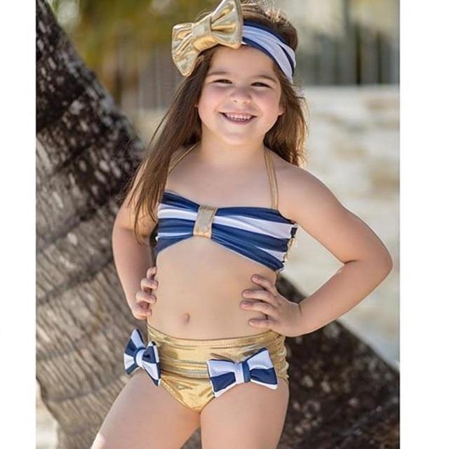 7205bbc014 Cute Kids Baby Girls 3 2 pieces cool summer bikini Navy Stripe Bikini Swimsuit  Swimwear Bathing Suit fidget spinner Swimming