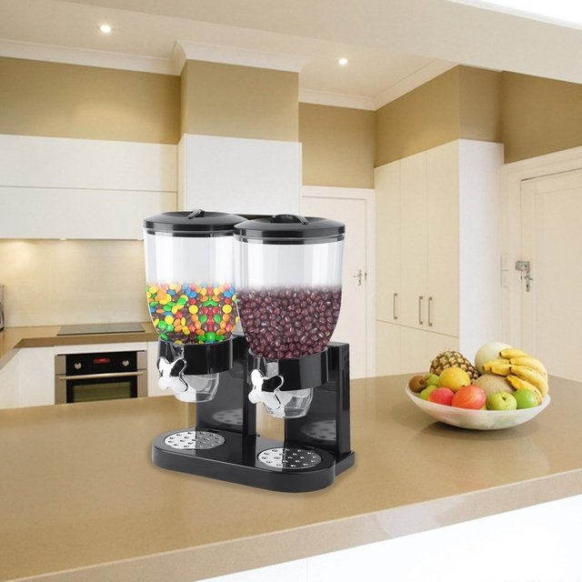 Double Chambers Dry Food Cereal Dispenser Airtight Kitchen Storage Twin Container