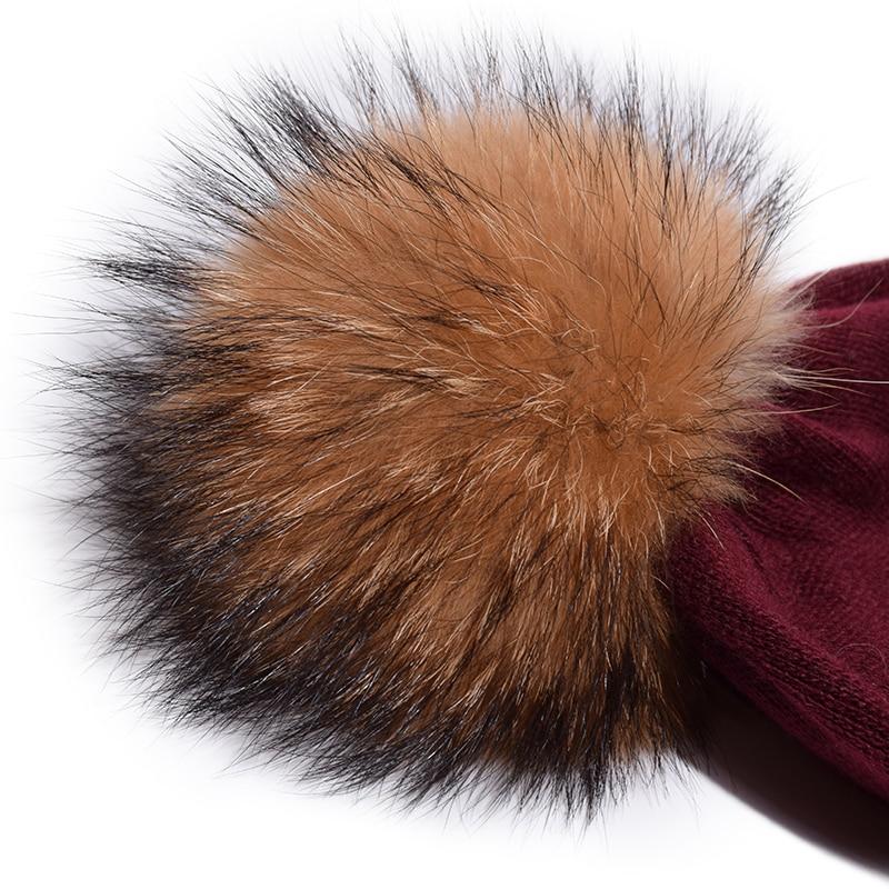a520672142c ... Pump Queen Wool Winter Hat Women Real Raccoon Fur Pom Pom Beanies  Winter Warm Wool With ...