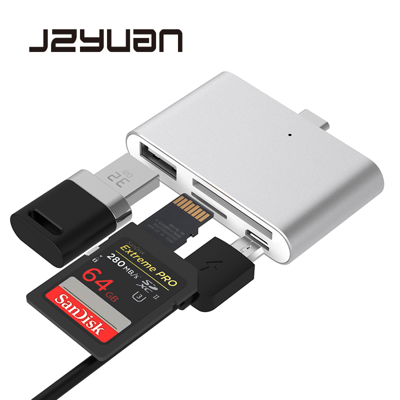 JZYuan 4 In 1 USB C Hub With 2 Slot TF SD Card USB 2.0 Hub OTG Card Reader USB 3.0 HUB For Mobile Phone MacBook Pro Type C Hub