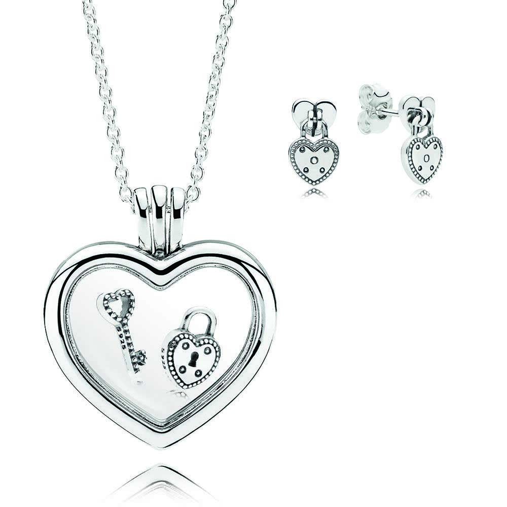 ROBOL Book Di 100% 925 Sterling Silver Lock Your Promise Necklace Gift Set fit charm original Necklace Women jewelry A Set