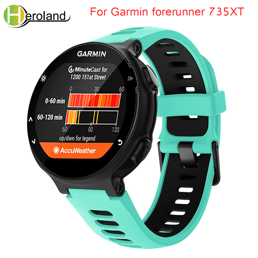 Outdoor Sport watch band For Garmin forerunner 735XT/220/230/235/620/630 Soft Silicone Strap for Garmin forerunner black band image