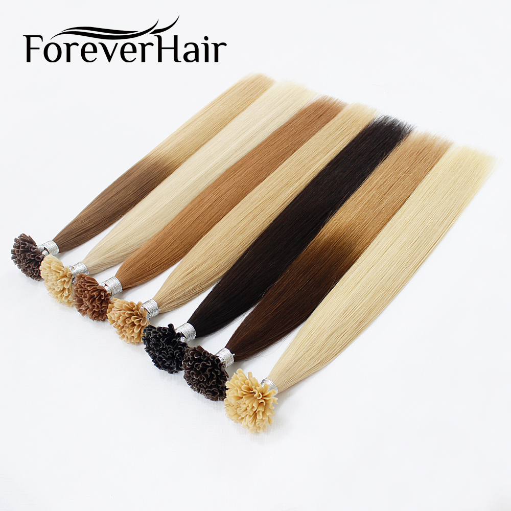 FOREVER HAIR 0.8g/s Remy Human Hair Extensions U Tip With Hot Build - Human Hair (For White)