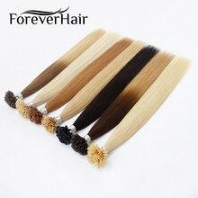 FOREVER HAIR 0.8g / s Remy Emberi hajhosszabbítás U Tipp Hot Build európai előkapcsolt haj 100strands 80g Ingyenes gyors szállítás