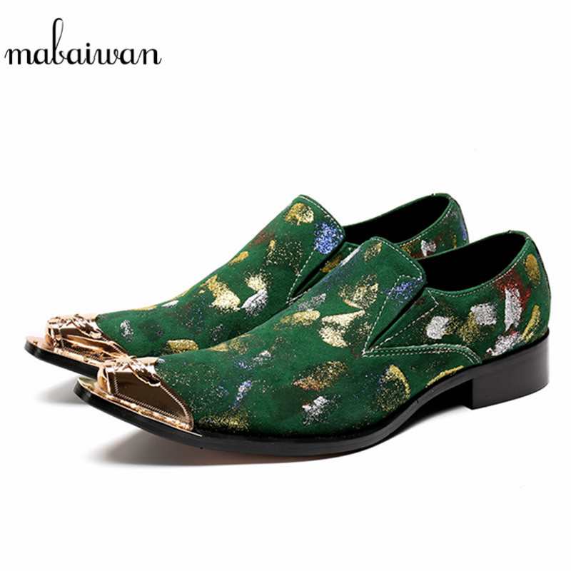 Mabaiwan 2018 Italian Metal Toe Oxfords Shoes for Men Slip On Leather Green Loafer Formal Dress Casual Shoes Men Wedding Flats branded men s penny loafes casual men s full grain leather emboss crocodile boat shoes slip on breathable moccasin driving shoes