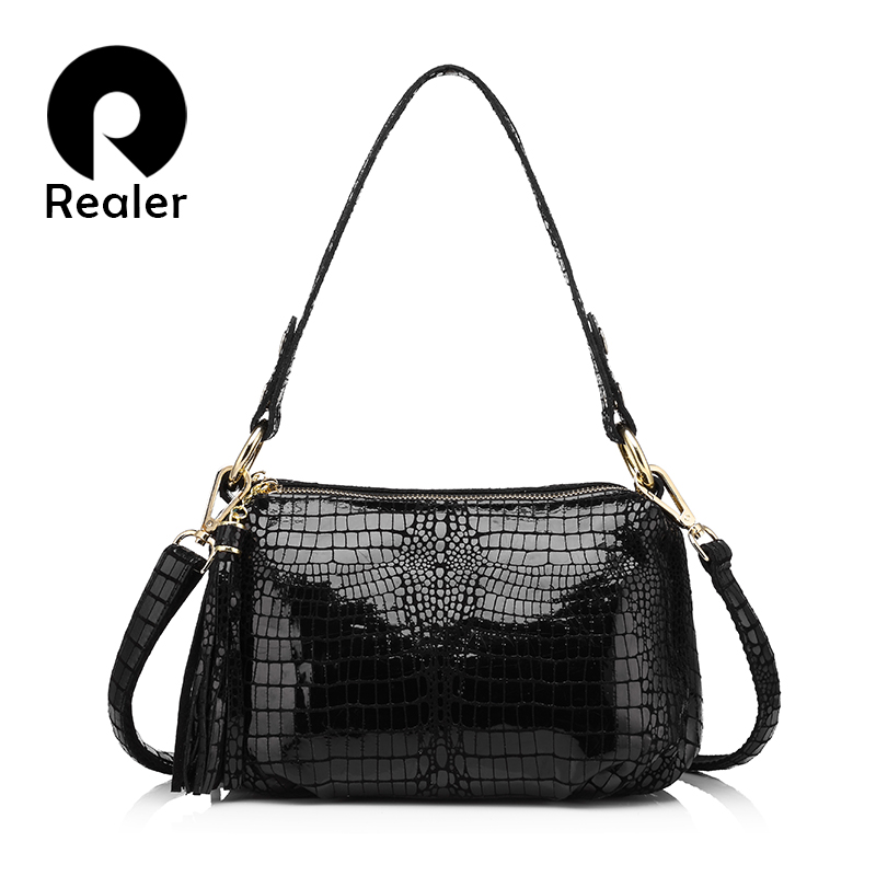 REALER genuine leather women handbag crocodile pattern flap bag female shoulder crossbody bags ladies messenger bag totes small 2018 yuanyu 2016 new women crocodile bag women clutches leather bag female crocodile grain long hand bag