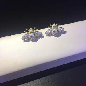 Image 3 - 925 Sterling Zilver Met Cubic Zirkoon Bee Stud Oorbel Fijne Vrouwen Sieraden Gratis Verzending