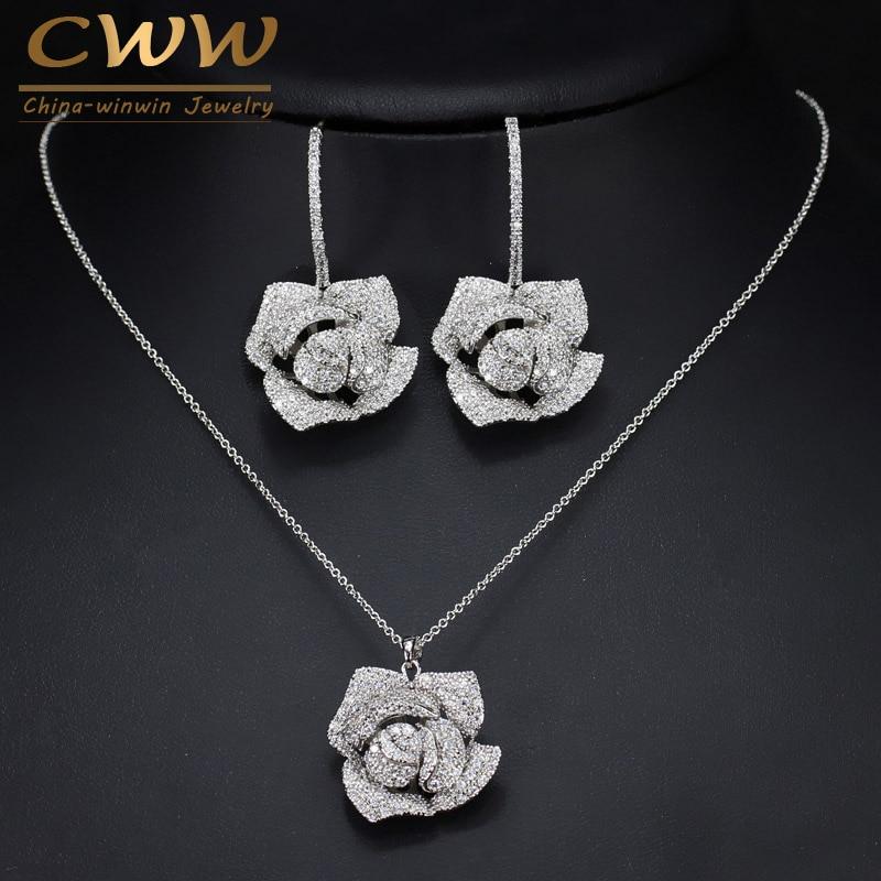 CWWZircons Women Jewelry Micro Pave Cubic Zirconia Flower Drop Pendant Necklace Earrings Set T065
