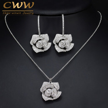 CWWZircons Fashion Brand Women Jewelry Beautiful Micro Pave Cubic Zirconia Flower Drop Pendant Necklace And Earrings Set T065