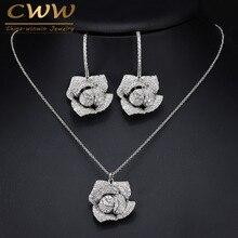 CWWZircons אופנה מותג תכשיטי נשים יפה מיקרו פייב מעוקב Zirconia פרח Drop תליון שרשרת ועגילים סט T065